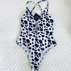 New w/ tags Leopard print one piece swimsuit S